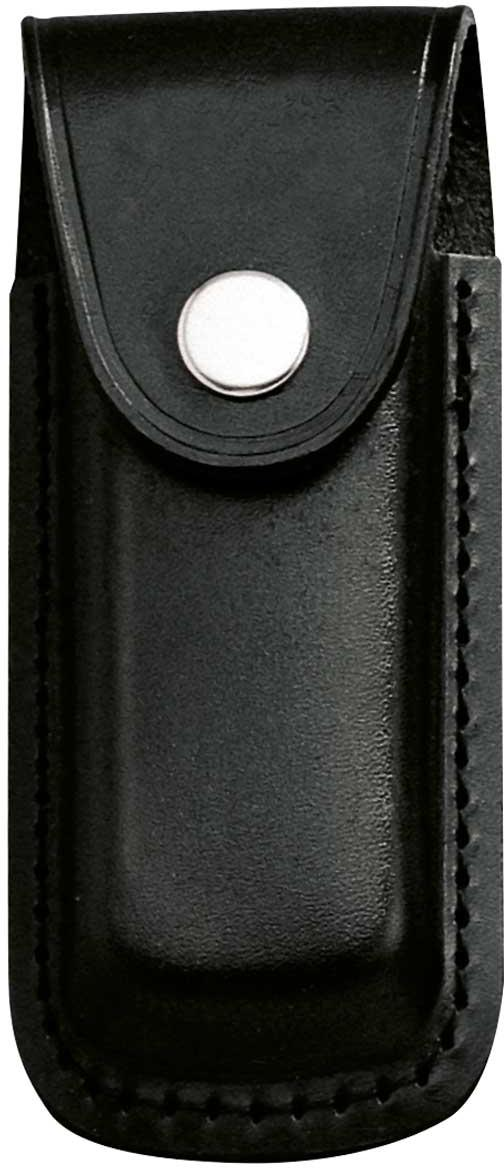 Messer-Etui, schwarzes Leder, eingeschnitt. Gürtelschlaufe