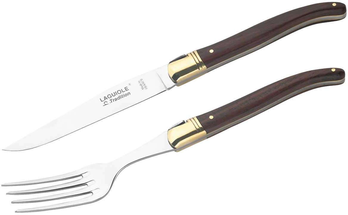 Steakmesser mit Gabel, in Holzbox