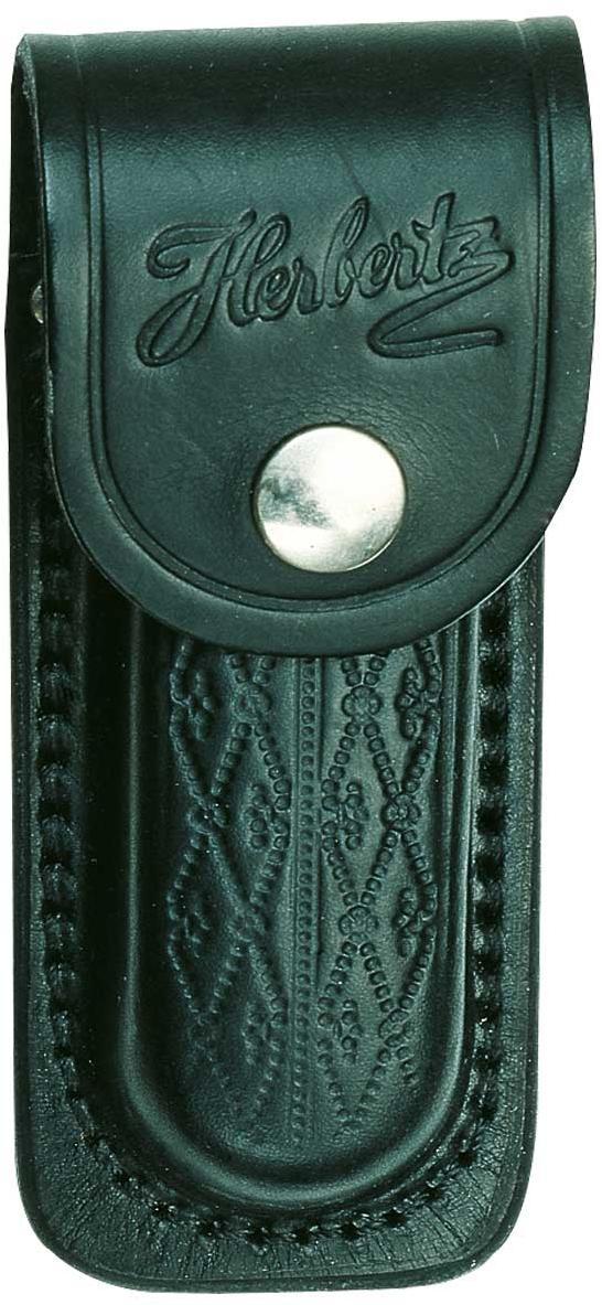 Messer-Etui, schwarzes Leder mit Prägemuster