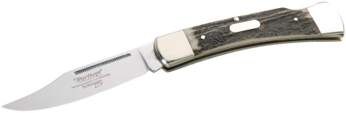 Taschenmesser, Stahl 1.4110, Hirschhorn-Schalen